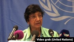 UN High Commissioner for Human Rights Navi Pillay speaks to journalists in Juba on Wednesday, April 30, 2014.