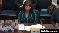 Bà Helen Nguyễn, vợ của ông Michael Nguyễn, điều trần tại một tiểu ban của Uỷ ban Đối ngoại Hạ viện Hoa Kỳ, ngày 25/7/2019. Photo Foreign Affairs Committee.