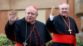 Mexican Cardinals Juan Sandoval Iniguez (L) and Josz Francisco Robles Ortega (R) wave as they arrive at a meeting at the Synod Hall in the Vatican March 7, 2013.