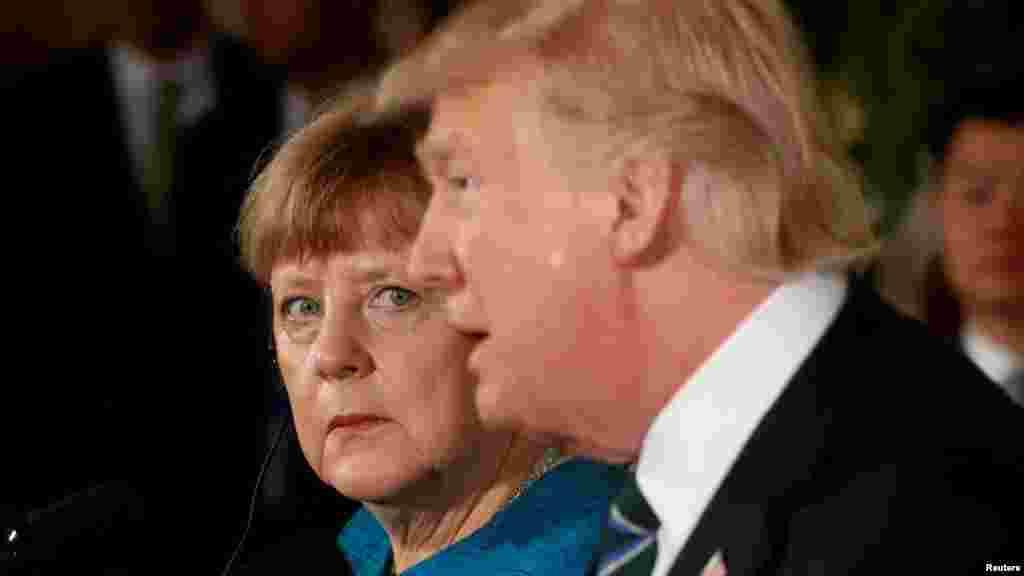 President Donald Trump and Germany's Chancellor Angela Merkel.