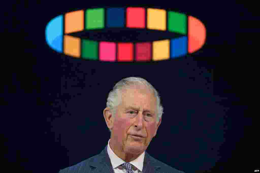 Britain's Prince Charles, Prince of Wales, delivers a speech at the World Economic Forum during the World Economic Forum annual meeting in Davos, Switzerland.