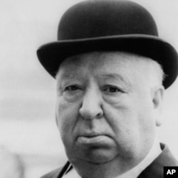 "Famed director Alfred Hitchcock is shown wearing a bowler hat while on location in London for ""Frenzy."""