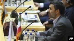 Iranian President Mahmoud Ahmadinejad, speaks, during the 'International Conference on Global Fight Against Terrorism' in Tehran, Iran, June 25, 2011.