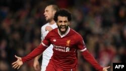 L'Egyptien Mohamed Salah après un but à Liverpool, le 6 décembre 2017.