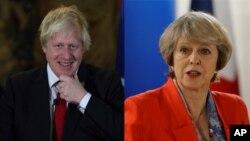 تریسا می صدراعظم بریتانیا و بوریس جانسن وزیر خارجۀ آن کشور