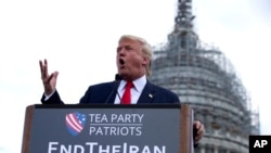 Republican presidential candidate Donald Trump speaks at a rally organized by Tea Party Patriots in on Capitol Hill in Washington, Sept. 9, 2015, to oppose the Iran nuclear agreement.