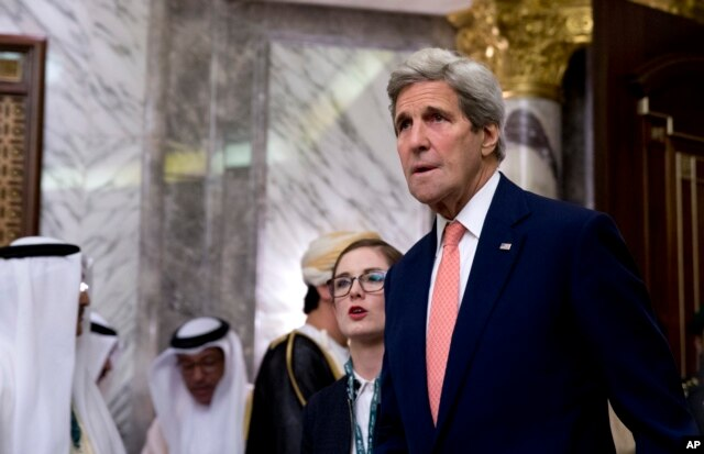 U.S. Secretary of State John Kerry is seen at the Diriyah Palace during the Gulf Cooperation Council Summit in Riyadh, Saudi Arabia, April 21, 2016.