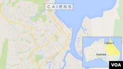 Peta Australia dan wilayah Cairns, lokasi pembunuhan delapan anak, Jumat (19/12).