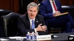 聯邦調查局局長克里斯托弗·雷在參議院司法委員會的聽證會上作證。 (2021年3月2日)