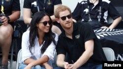 Le Prince Harry et sa fiancée Meghan Markle lors des Jeux de l'Invictus à Toronto,le 25 septembre 2017.