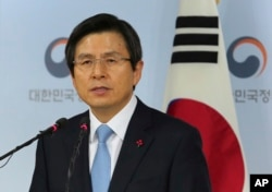 FILE - South Korea's acting president, Prime Minister Hwang Kyo-ahn.
