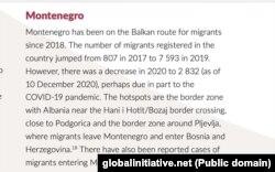 Deo odlomka izveštaja o Crnoj Gori posvećen kretanju azilanata i migranta