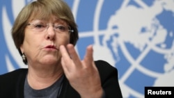 Komisaris Tinggi PBB Urusan HAM Michelle Bachelet berbicara di Jenewa, Swiss, Rabu (5/12).