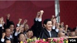 马英九总统发表国庆日演说(美国之音 张永泰拍摄)