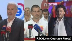 S leva: Zdravko Krivokapić (Za budućnost Crne Gore), Aleksa Bečić (Mir je naša nacija) i Dritan Abazović (Crno na bijelo) (Foto: RTCG.me)