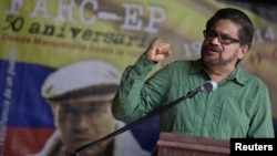 FILE - Revolutionary Armed Forces of Colombia's lead negotiator Ivan Marquez addresses media during conference in Havana, May 27, 2014.