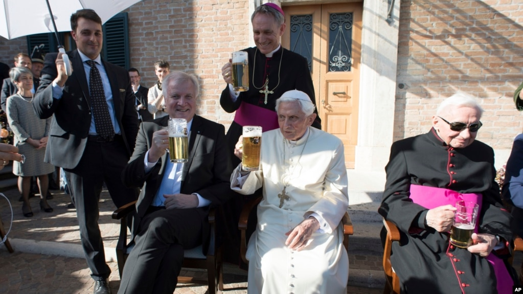 Image result for Pope celebrates 90th birthday with a mug of beer