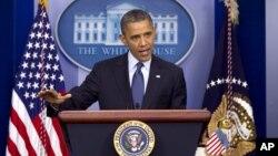 El presidente Obama habló sobre la economía europea y la local, desde el salón de conferencias de la Casa Blanca.