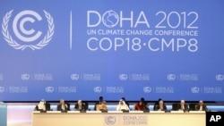 Sân khấu tại lễ khai mạc hội nghị biến đổi khí hậu LHQ tại Doha, Qatar, ngày 26/11/2012.