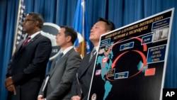 美國官員在華盛頓舉行的司法部新聞發布會上宣布對兩名中國芬太尼走私者提出起訴 (資料圖片)