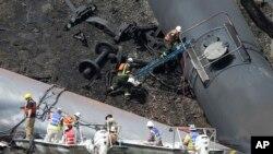 Một đoàn tàu bị trật bánh vào năm ngoái cũng trên tuyến đường này, gây ra vụ nổ gần thành phố Lynchburg, bang Virginia