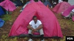 Житель палаточного городка «Захвати Тампу». Тампа, Флорида. 27 августа 2012 года