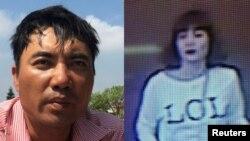 Anh trai của cô Đoàn Thị Hương (trái) và hình ảnh nữ nghi can bị máy quay an ninh ghi lại hôm 13/2.