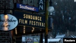 FILE - The marque on the Egyptian Theatre is pictured before the opening day of the Sundance Film Festival in Park City, Utah, Jan. 21, 2015.