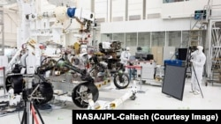 The Mars rover, now named Perseverance, at the Jet Propulsion Laboratory in Pasadena, CA, July 23, 2019