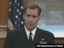 美国国防部发言人、海军少将约翰•柯比 (美国国务院视频截图)