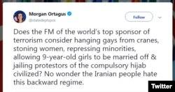 خانم اورتگاس در توئیتر به ظریف واکنش نشان داد.