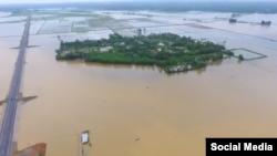 Lụt ở Quảng Trị, 2016. Hình minh họa. (Screenshot from Bui Minh Tuan's video on YouTube)