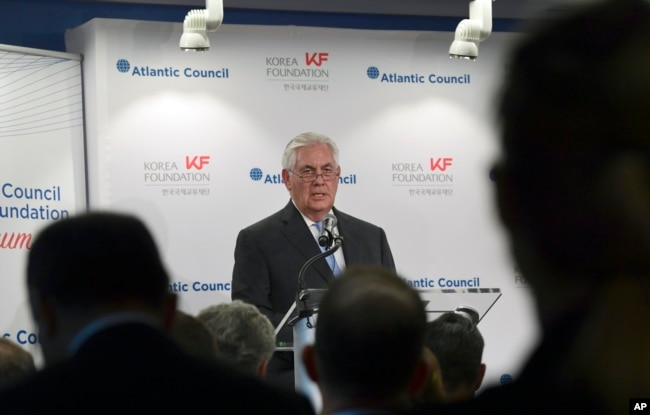 Secretary of State Rex Tillerson speaks at the 2017 Atlantic Council-Korea Foundation Forum in Washington, Dec. 12, 2017.