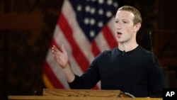 Facebook CEO Mark Zuckerberg speaks at Georgetown University in Washington, Oct. 17, 2019.