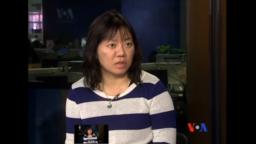 Blogger Phạm Đoan Trang trong một cuộc phỏng vấn tại trụ sở đài VOA năm 2014.