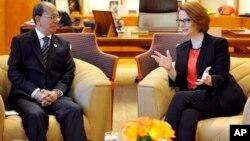 Thủ tướng Australia Julia Gillard hội đàm với Tổng thống Miến ĐiệnThein Sein 18/3/2013