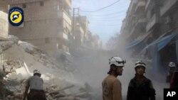 Mji wa ulioharibiwa kwa mabomu wa Aleppo, Syria.
