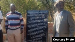 Chiefs officially opening the Bhalagwe memorial plaque for Gukurahundi victims. (Photo Credit: Discent Collins Bajila)