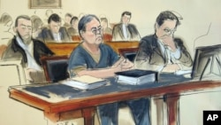 In this March 25, 2019 courtroom sketch, former Hong Kong home affairs secretary Dr. Chi Ping Patrick Ho, center, is sentenced to three years in prison after he was convicted of paying bribes to presidents of two African countries in a United Nations-linked case., in New York.