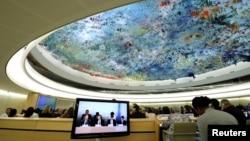 지난 9월 13일 스위스 제네바의 유럽 유엔본부에서 개막한 제33차 유엔 인권이사회 정기이사회에서 자이드 라드 알 후세인 유엔 인권최고대표가 개막연설을 하고 있다.