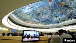 지난 9월 스위스 제네바의 유럽 유엔본부에서 개막한 제33차 유엔 인권이사회 정기이사회에서 자이드 라드 알 후세인 유엔 인권최고대표가 개막연설을 하고 있다. (자료사진)