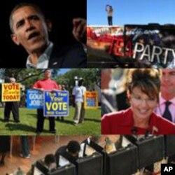 ທັງພັກ Republican ຊຶ່ງນໍາໜ້າໂດຍ ທ່ານ ບາຣັກ ໂອບາມາ ແລະ ພັກ Republican ຊຶ່ງລວມມີທ່ານ ນາງ ຊາຣາ ເພລິນ (ເບື້ອງຂວາລຸ່ມ) ກໍາລັງພາກັນ ແຂ່ງຂັນກັນຫາສຽງ ຢ່າງແຂງຂັນ.