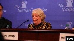 前美國在台協會執行理事施藍旗2015年3月20日在傳統基金會發表評論。 (美國之音鍾辰芳拍攝)