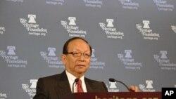 台灣國民黨副主席蔣孝嚴在華盛頓保守智庫傳統基金會發表講話。