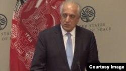 Zalmay Khalilzad berbicara di Institute of Peace di Washington DC, hari Jumat (8/2).