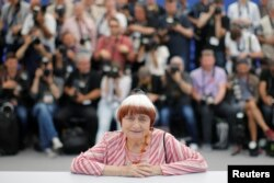 Director Agnes Varda poses at a photocall at the 70th Cannes Film Festival, Cannes, France, May 19, 2017.
