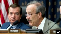 House Foreign Affairs Committee's ranking member Rep. Eliot Engel, D-N.Y., speaks during a hearing on Iran at Capitol Hill in Washington, Oct. 11, 2017. At left House Foreign Affairs Committee Chairman Rep. Ed Royce.