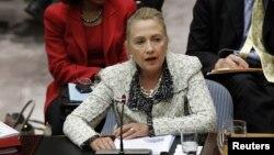 Ngoại trưởng Mỹ Hillary Clinton phát biểu trong 1 cuộc họp của Hội đồng Bảo an LHQ tại Trụ sở Liên Hiệp Quốc ở New York, 26/9/2012