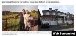 Ông Hann và bà Bích, cha mẹ của Jennifer Pan; bên phải là căn nhà của họ ở số 238 Helen Avenue. (Ảnh chụp từ trang web của báo Toronto Life).