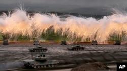 지난해 8월 일본 자위대가 남서부 고템바 지역에서 연례 군사훈련을 하고 있다. (자료사진)